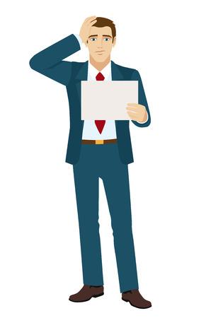 wonderment: Businessman surprised. Businessman holding a paper. Vector illustration.