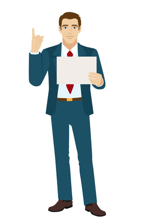 pointing up: Attention! Businessman pointing up. Businessman holding a paper. Vector illustration.