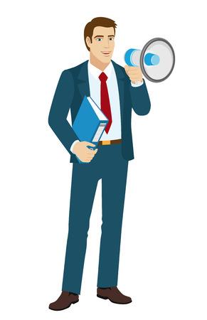 public folder: Businessman with loudspeaker. Businessman holding a folder. Vector illustration.