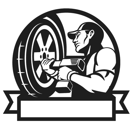 impact wrench: Auto mechanic changing tyre on car. Auto mechanic works with the cordless impact wrench. Wheel change. Vector illustration.