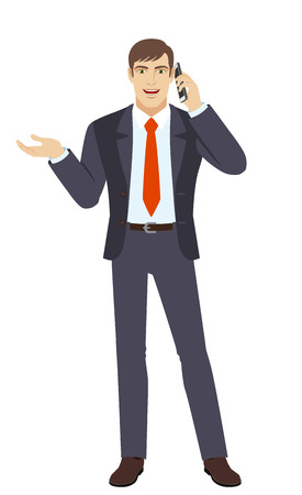 gesticulation: Businessman gesturing. Businessman talking on the mobile phone. Full length portrait of businessman in a flat style. Vector illustration.