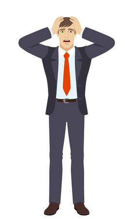 stressed people: Businessman with surprise expression on face. Full length portrait of businessman in a flat style. This vector illustration is ideal for animation, advertising, presentations, e-learning courses or for other projects.
