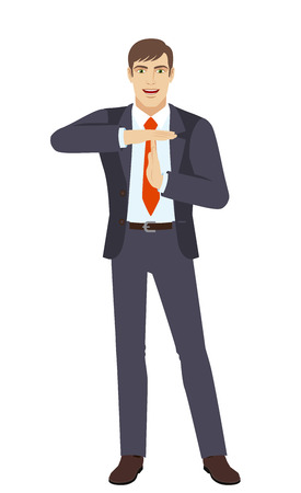 intermission: Businessman showing time-out sign with hands. Body language. Full length portrait of businessman in a flat style. Vector illustration.