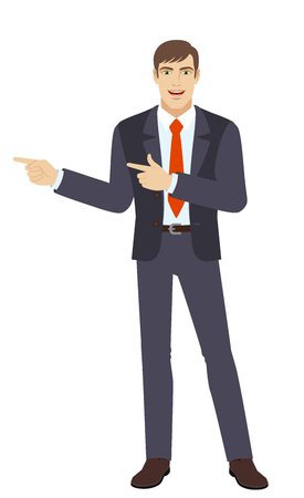 somewhere: Two index fingers pointing. Businessman showing somewhere. Full length portrait of businessman in a flat style. Vector illustration.