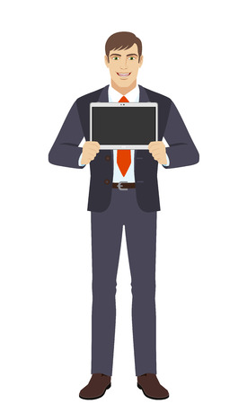 Businessman showing blank digital tablet PC. Full length portrait of businessman in a flat style. Vector illustration.