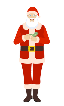 Santa Claus with money. Santa Claus counts the money. Full length portrait of Santa Claus in a flat style. Vector illustration.