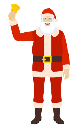 Ho-Ho-Ho! Santa Claus rings a bell. Full length portrait of Santa Claus in a flat style. Vector illustration.