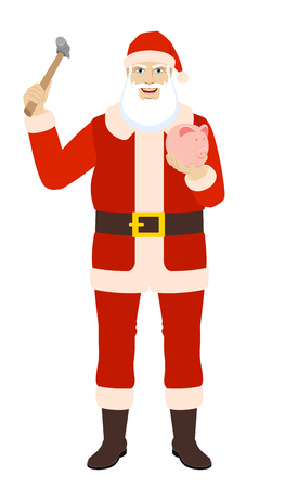 Santa Claus trying to break a piggy bank with a hammer. Full length portrait of Santa Claus in a flat style. Vector illustration.