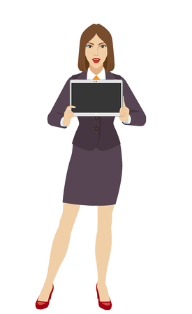 Businesswoman showing blank digital tablet PC. Full length portrait of businesswoman in a flat style. Vector illustration.