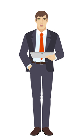 Businessman holding digital tablet PC. Full length portrait of businessman in a flat style. Vector illustration.