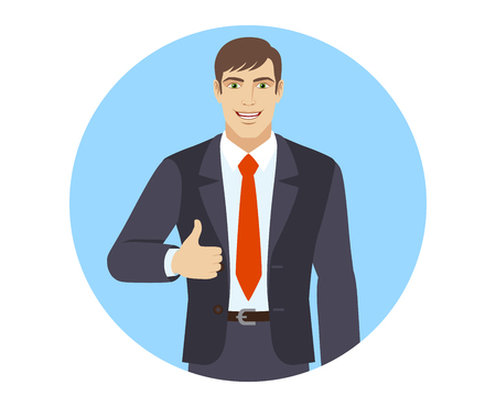 Smiling businessman shows thumb up. Portrait of businessman in a flat style. Vector illustration.