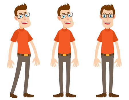 fullbody: Set of Cartoon Character at different angles. Front and side view. Full length portrait of Cartoon Character in a flat style. Positions set for rigging and animation. Vector illustration. Illustration