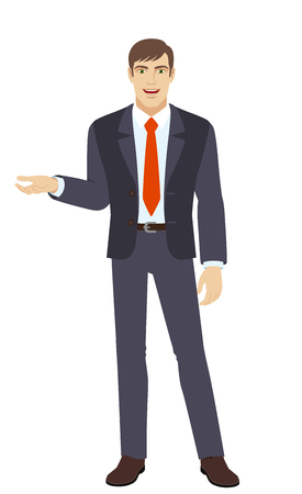 him: Businessman gesturing. Businessman shows something beside of him. Full length portrait of businessman in a flat style. Vector illustration. Illustration