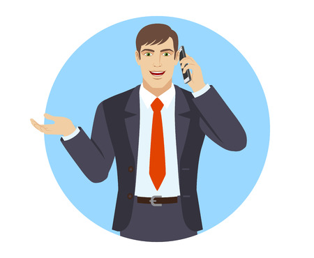 Businessman gesturing. Businessman talking on the mobile phone. Portrait of businessman in a flat style. Vector illustration.