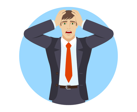 stressed people: Businessman with surprise expression on face. Portrait of businessman in a flat style. Vector illustration.