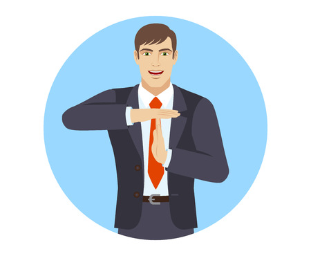 Businessman showing time-out sign with hands. Body language. Portrait of businessman in a flat style. Vector illustration.