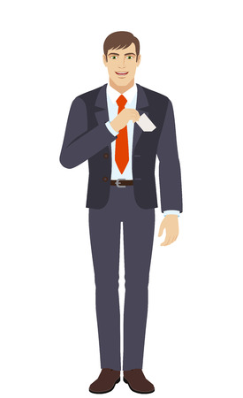 businesscard: Businessman puts the business-card in his pocket. Full length portrait of businessman in a flat style. Vector illustration. Illustration