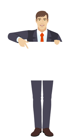 Businessman holding white blank poster. Businessman pointing at banner over white.