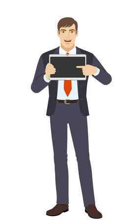 Businessman showing blank digital tablet PC. Businessman pointing at tablet computer. Full length portrait of businessman in a flat style. Vector illustration. Illustration