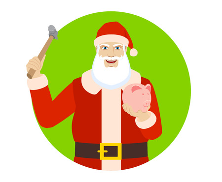 Santa Claus trying to break a piggy bank with a hammer. Portrait of Santa Claus in a flat style. Vector illustration.