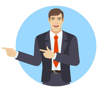 somewhere: Two index fingers pointing. Businessman showing somewhere. Portrait of businessman in a flat style. Vector illustration.