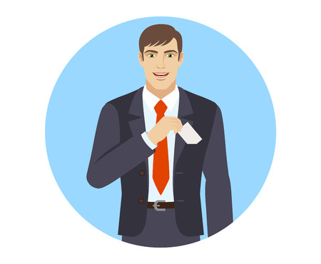 businesscard: Businessman puts the business-card in his pocket. Portrait of businessman in a flat style. Vector illustration.