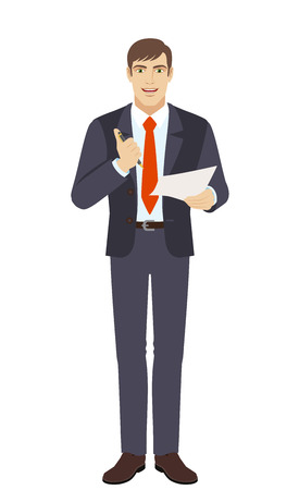 Businessman holding a pen and paper. Businessman pushes a button of a ballpoint pen and wants to write on paper. Full length portrait of businessman in a flat style. Vector illustration. Illustration