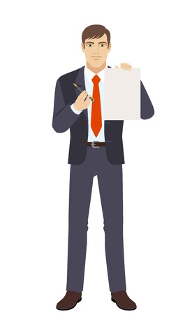 Businessmen giving pen for your signature on paper. Businesswomen offers to sign a document. Full length portrait of businesswoman in a flat style. Vector illustration. Illustration