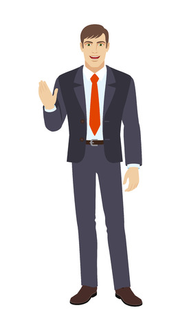 Businessman greeting someone with his hand raised up. Full length portrait of businessman in a flat style. Vector illustration.