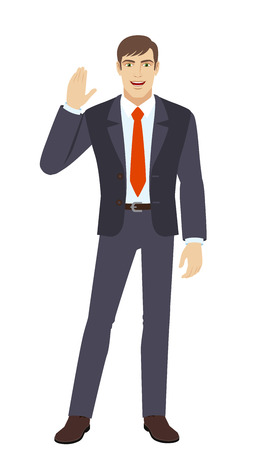 acquaintance: Businessman greeting someone with his hand raised up. Full length portrait of businessman in a flat style. Vector illustration.