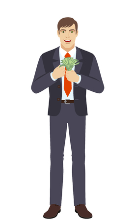 Businessman counts the money. Full length portrait of businessman in a flat style. Vector illustration.