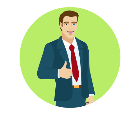 Businessman shows the thumb up. Portrait of businessman in a flat style. Vector illustration. Illustration