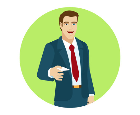 Businessman gives a business card. Portrait of businessman in a flat style. Vector illustration.