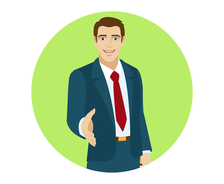 Businessman gives a hand for a handshake. Portrait of businessman in a flat style. Vector illustration.