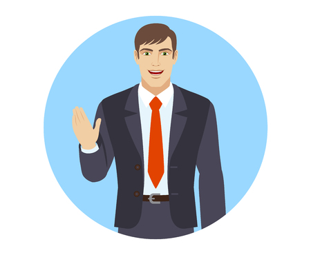 acquaintance: Businessman greeting someone with his hand raised up. Portrait of businessman in a flat style. Vector illustration.