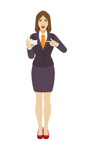 Businesswoman pointing on business card. Full length portrait of businesswoman in a flat style. Vector illustration. Illustration