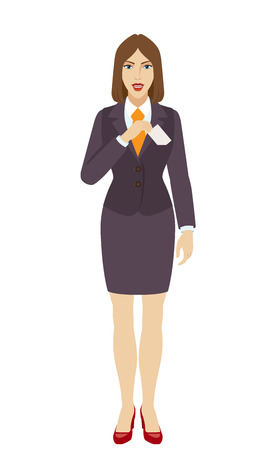 Businesswoman puts the business-card in his pocket. Full length portrait of businesswoman in a flat style. Vector illustration.