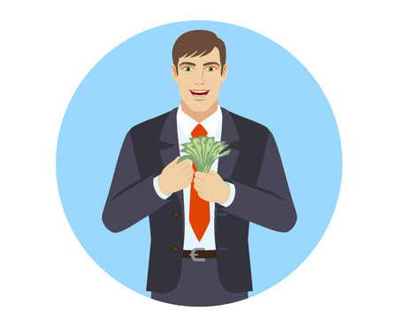 Businessman counts the money. Portrait of businessman in a flat style. Vector illustration.