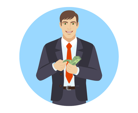 Business man counts the money. Portrait of businessman in a flat style. Vector illustration. Illustration