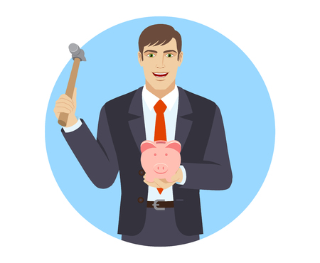 break in: Business man trying to break a piggy bank with a hammer. Portrait of businessman in a flat style. Vector illustration.