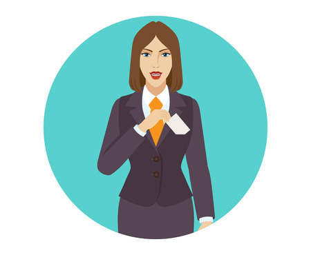 businesscard: Businesswoman puts the business-card in his pocket. Portrait of businesswoman in a flat style. Vector illustration. Illustration