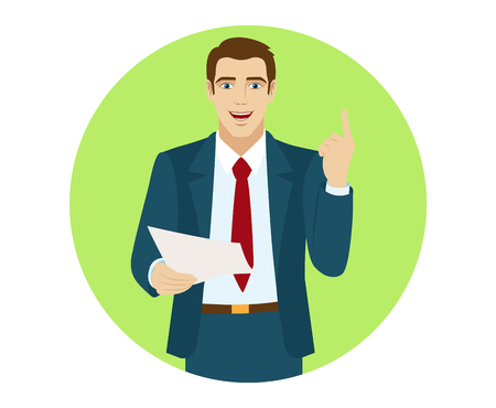 commercial sign: Businessman pointing up.  Businessman holding a paper. Portrait of businessman in a flat style. Vector illustration. Illustration