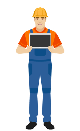 Builder showing blank digital tablet PC. Full length portrait of builder in a flat style. Vector illustration. Illustration