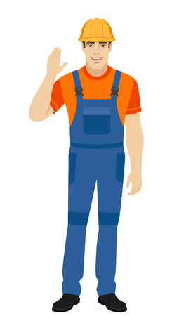 Builder greeting someone with his hand raised up. Full length portrait of builder in a flat style. Vector illustration. Illustration