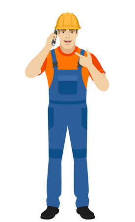 Builder talking on the phone and pointing on the phone. Full length portrait of builder in a flat style. Vector illustration. Illustration