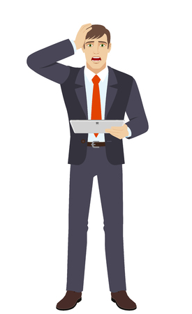 Shocked businessman holding digital tablet PC and grabbed his head. Full length portrait of businessman in a flat style. Vector illustration.