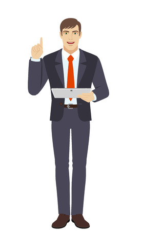 Businessman holding digital tablet PC and pointing up. Full length portrait of businessman in a flat style. Vector illustration.