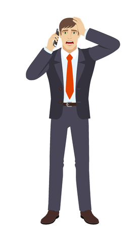 Shocked businessman talking on the mobile phone and grabbed his head. Full length portrait of businessman in a flat style. Vector illustration.