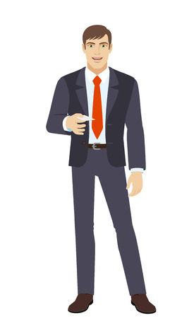 Businessman gives a business card. Full length portrait of businessman in a flat style. Vector illustration.