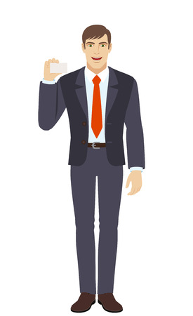 acquaintance: Businessman shows the business card. Full length portrait of businessman in a flat style. Vector illustration.